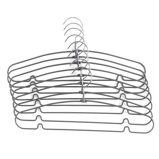 Beldray® Metal Clothes Garment and Trouser Hangers with PVC Non-Slip Coating | Pack of 8 | Grey Thumbnail 1