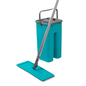 Beldray® LA067234EU Duplex Flat Head Mop and Bucket Set | Built-In Wringer & Dirt-Removing Scraper | Turquoise/Grey