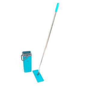 Beldray® LA067234EU Duplex Flat Head Mop and Bucket Set | Built-In Wringer & Dirt-Removing Scraper | Turquoise/Grey Thumbnail 2