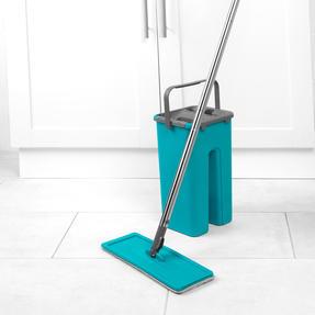 Beldray® LA067234EU Duplex Flat Head Mop and Bucket Set | Built-In Wringer & Dirt-Removing Scraper | Turquoise/Grey Thumbnail 4