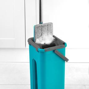 Beldray® LA067234EU Duplex Flat Head Mop and Bucket Set | Built-In Wringer & Dirt-Removing Scraper | Turquoise/Grey Thumbnail 8