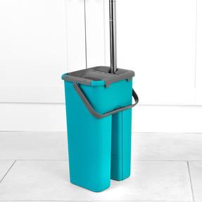 Beldray® LA067234EU Duplex Flat Head Mop and Bucket Set | Built-In Wringer & Dirt-Removing Scraper | Turquoise/Grey Thumbnail 10