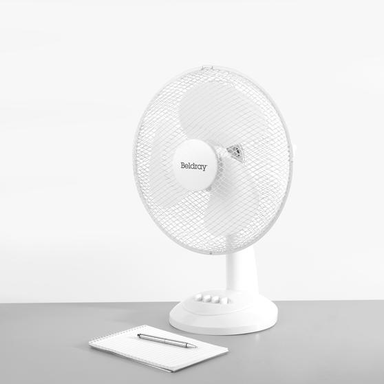 Beldray® Oscillating 12? Desk Fan | Adjustable Head | 3 Speed Settings | 3 Fan Blades | Plastic | 35 W | White Main Image 2