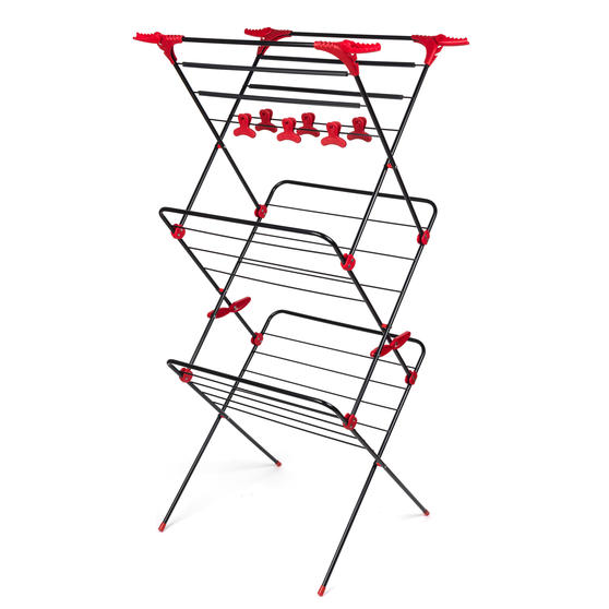 Russell Hobbs LA073785EU Three-Tier Deluxe Clothes Clothes Airer with Shirt Hanging Corners | Red/Black