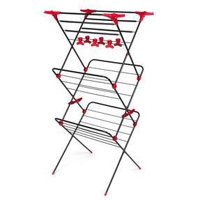 Russell Hobbs LA073785EU Three-Tier Deluxe Clothes Clothes Airer with Shirt Hanging Corners | Red/Black Thumbnail 1