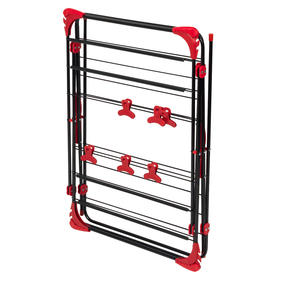 Russell Hobbs LA073785EU Three-Tier Deluxe Clothes Clothes Airer with Shirt Hanging Corners | Red/Black Thumbnail 2