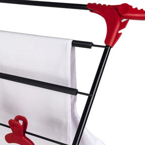 Russell Hobbs LA073785EU Three-Tier Deluxe Clothes Clothes Airer with Shirt Hanging Corners | Red/Black Thumbnail 3
