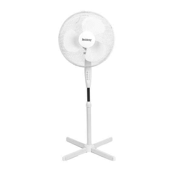 Beldray® EH3249 16 Inch Pedestal Fan | Oscillating Head | 3 Speeds | 125 cm | White