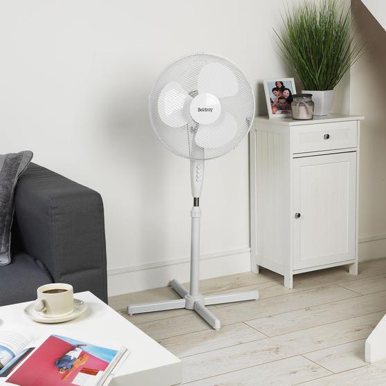 Beldray® 16 Inch Pedestal Fan | Oscillating Head | 3 Speeds | 125 cm | White Thumbnail 2