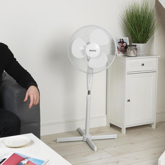 Beldray® 16 Inch Pedestal Fan | Oscillating Head | 3 Speeds | 125 cm | White Thumbnail 4