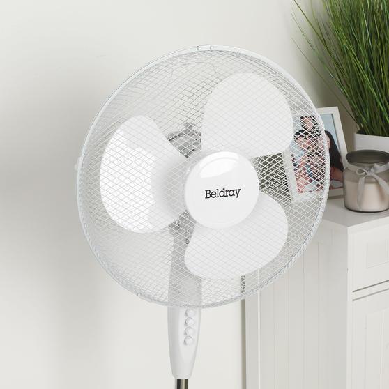 Beldray® 16 Inch Pedestal Fan | Oscillating Head | 3 Speeds | 125 cm | White Thumbnail 8