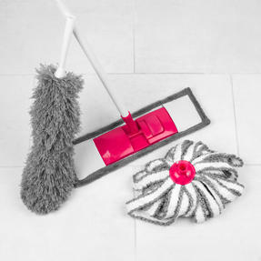 Kleeneze® KL065957EU 4-Piece Household Essentials Cleaning Set, Grey/Pink Thumbnail 2