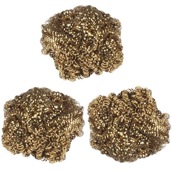 Kleeneze® KL072177EU Antibacterial Brass Scourers | Ideal for Pots, Pans and Utensils | 3 Pack