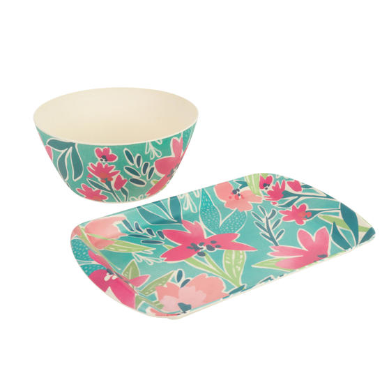 Cambridge® COMBO-5553 Reusable Lightweight Rectangular Serving Tray and Large Bowl, Evie Print | Dishwasher Safe | BPA Free | Alternative to Single Use Plastics