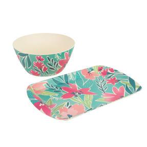 Cambridge® COMBO-5553 Reusable Lightweight Rectangular Serving Tray and Large Bowl, Evie Print | Dishwasher Safe | BPA Free | Alternative to Single Use Plastics Thumbnail 1