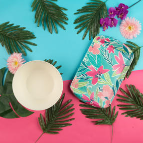 Cambridge® COMBO-5553 Reusable Lightweight Rectangular Serving Tray and Large Bowl, Evie Print | Dishwasher Safe | BPA Free | Alternative to Single Use Plastics Thumbnail 3