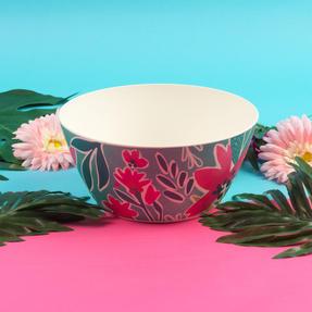 Cambridge® COMBO-5553 Reusable Lightweight Rectangular Serving Tray and Large Bowl, Evie Print | Dishwasher Safe | BPA Free | Alternative to Single Use Plastics Thumbnail 5