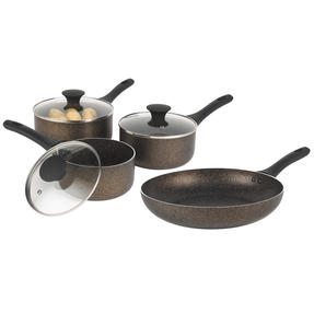 Russell Hobbs COMBO-6361 Crystaltech Non-Stick Frying Pan and Saucepan Set| 4 Piece | 16/18/20/28 cm | Metal Utensil Safe | Dishwasher Safe | Bronze Thumbnail 1