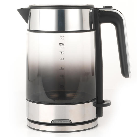 Progress® EK3891PBLK Ombre Glass Kettle, 1.7 litre Capacity, Black