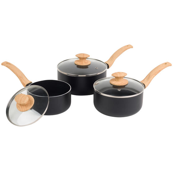 Progress® BW09025EU Scandi Smartstone Non Stick Saucepan Set with Glass Lids
