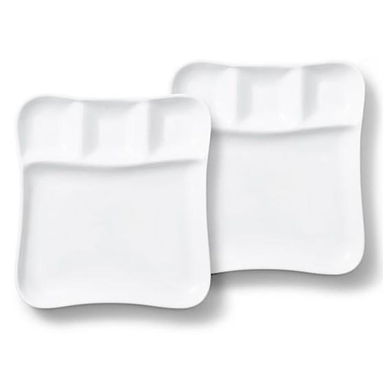 Vivo | Villeroy & Boch Group DW0476 Fondue Gourmet Serving Plates, 2 Piece Set, Porcelain, White