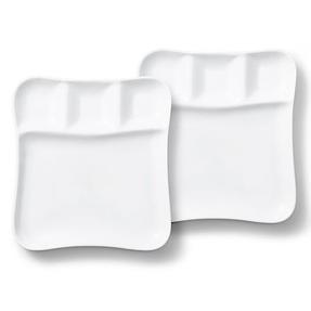 Vivo | Villeroy & Boch Group DW0476 Fondue Gourmet Serving Plates, 2 Piece Set, Porcelain, White Thumbnail 1