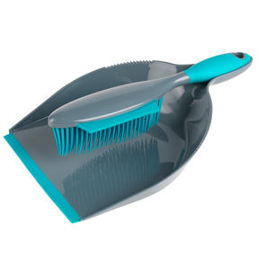 Beldray® LA069351EU Pet Plus+ Rubber Dustpan with Brush Set | Compact Design | Grey/Turquoise