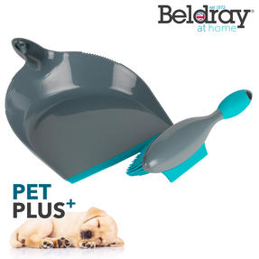 Beldray® LA069351EU Pet Plus+ Rubber Dustpan with Brush Set | Compact Design | Grey/Turquoise Thumbnail 2