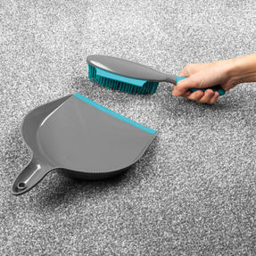Beldray® LA069351EU Pet Plus+ Rubber Dustpan with Brush Set | Compact Design | Grey/Turquoise Thumbnail 7