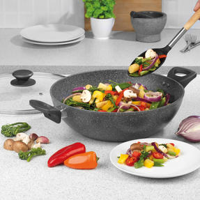 Salter® BW09338 Marblestone Non-Stick Family Pan   30 cm   Induction Suitable   Dishwasher Safe   Grey Thumbnail 4
