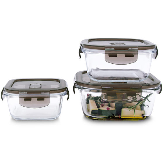 Kuhn Rikon VK7002 Square Airtight Food Storage Box Set | 3 Piece | 0.3/0.5/0.8 L | Great For Marinating/Freezing/Batch Cooking