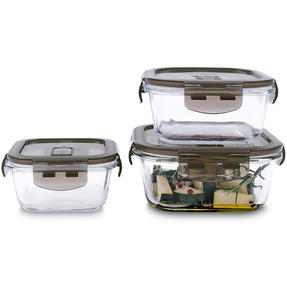 Kuhn Rikon VK7002 Square Airtight Food Storage Box Set | 3 Piece | 0.3/0.5/0.8 L | Great For Marinating/Freezing/Batch Cooking Thumbnail 1