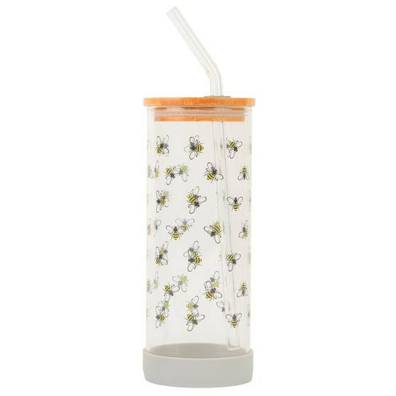 Cambridge® CM07130 Busy Bee Glass Bottle | Shatter-proof | Leakproof | 450 ml | BPA Free | Stylish Bamboo Lid