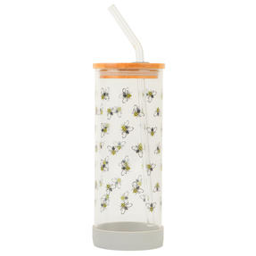 Cambridge® CM07130 Busy Bee Glass Bottle | Shatter-proof | Leakproof | 450 ml | BPA Free | Stylish Bamboo Lid Thumbnail 1