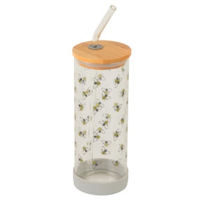 Cambridge® CM07130 Busy Bee Glass Bottle | Shatter-proof | Leakproof | 450 ml | BPA Free | Stylish Bamboo Lid Thumbnail 3