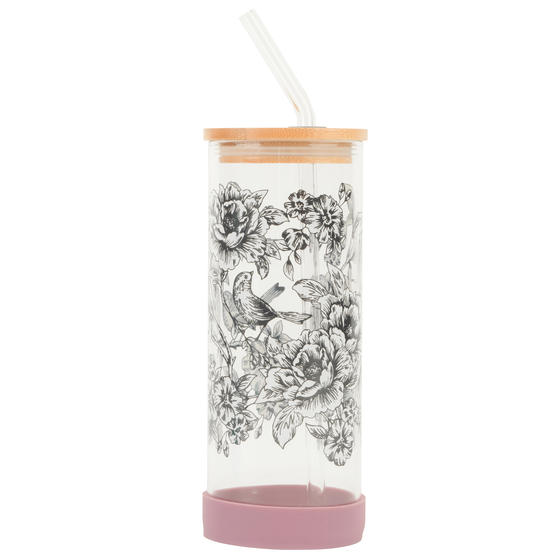 Cambridge® CM07131 Floral Trail Glass Bottle | Shatter-proof | Leakproof | 450 ml | BPA Free | Stylish Bamboo Lid
