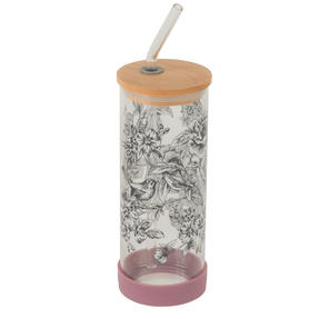 Cambridge® CM07131 Floral Trail Glass Bottle | Shatter-proof | Leakproof | 450 ml | BPA Free | Stylish Bamboo Lid Thumbnail 3