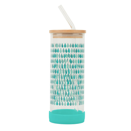 Cambridge® CM07133 Water Droplet Glass Bottle | Shatter-proof | Leakproof | 450 ml | BPA Free | Stylish Bamboo Lid