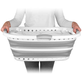 Beldray® LA072979GRYEU Collapsible Hip Hugger Laundry Basket | Great for Carrying Large Washing Loads Around the Home or To Laundrette | Plastic | 37 L | Grey Thumbnail 2