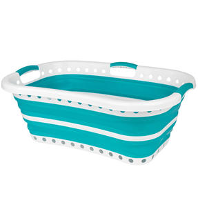 Beldray® LA072979TQEU Collapsible Hip Hugger Laundry Basket | Great for Carrying Large Washing Loads Around the Home or To Laundrette | Plastic | 37 L | Turquoise