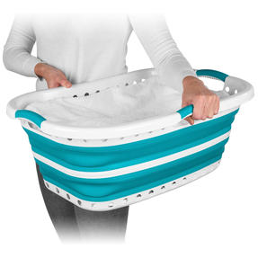 Beldray® LA072979TQEU Collapsible Hip Hugger Laundry Basket | Great for Carrying Large Washing Loads Around the Home or To Laundrette | Plastic | 37 L | Turquoise Thumbnail 2