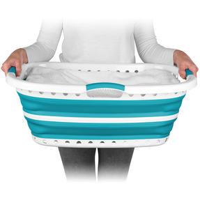 Beldray® LA072979TQEU Collapsible Hip Hugger Laundry Basket | Great for Carrying Large Washing Loads Around the Home or To Laundrette | Plastic | 37 L | Turquoise Thumbnail 3