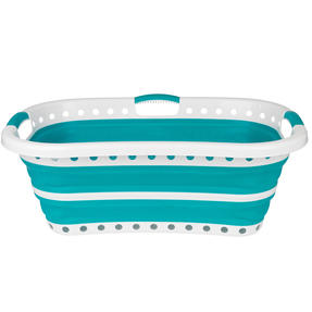 Beldray® LA072979TQEU Collapsible Hip Hugger Laundry Basket | Great for Carrying Large Washing Loads Around the Home or To Laundrette | Plastic | 37 L | Turquoise Thumbnail 6