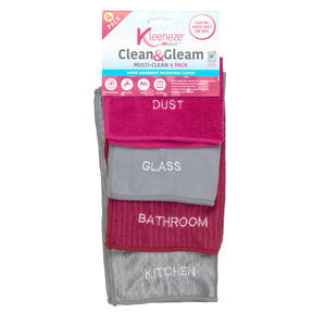 Kleeneze® KL068118EU Super Absorbent Microfibre Cloths for Cleaning and Removing Bacteria | Pack of 4 | Pink and Grey