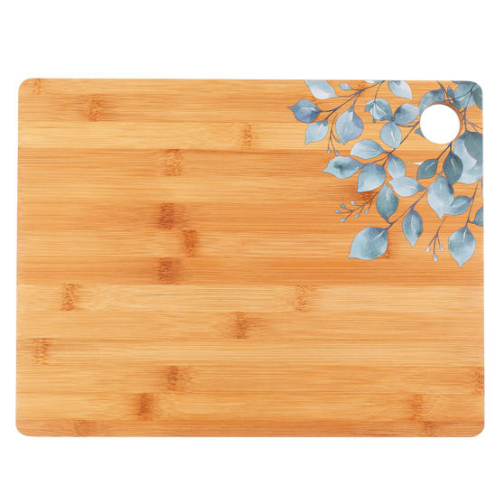 Cambridge® BW094531 Bamboo Chopping Board with Eucalyptus Decal Design | 32.7 x 25 cm | FSC Certified