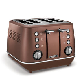 Morphy Richards 240101 4-Slice Evoke Toaster | Variable Browning Control | Removable Crumb Tray | Bronze