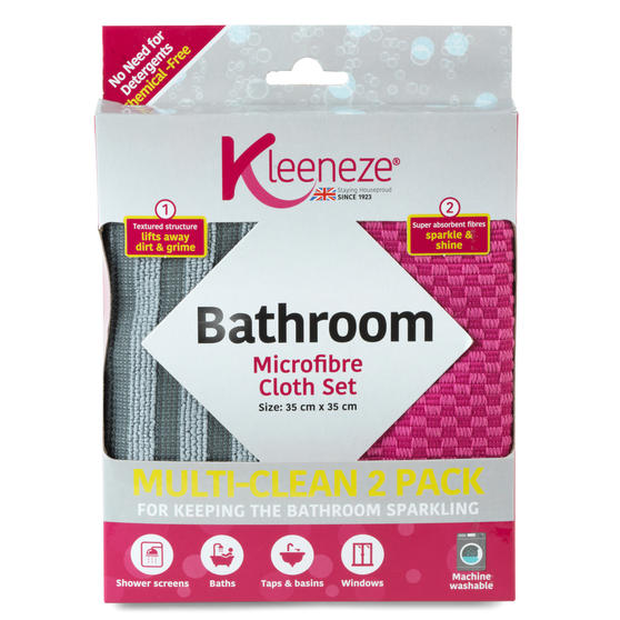 Kleeneze® KL071132EU Microfibre Bathroom Cloths for Cleaning and Removing Bacteria | Pack of 2 | Pink and Grey
