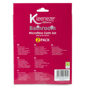 Kleeneze® KL071132EU Microfibre Bathroom Cloths for Cleaning and Removing Bacteria | Pack of 2 | Pink and Grey Thumbnail 2