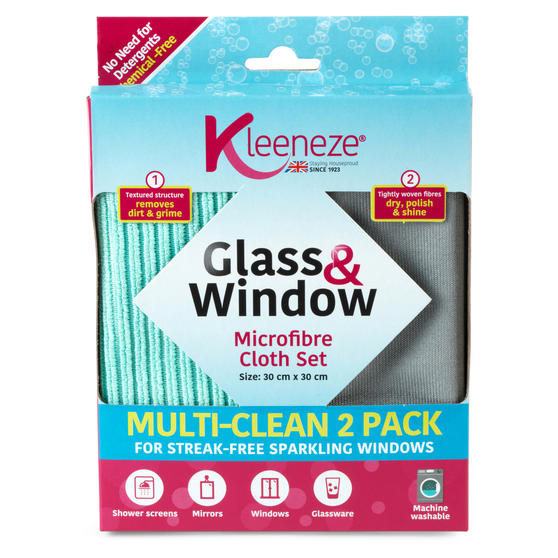 Kleeneze® KL071170EU Microfibre Glass and Window Cloths for Cleaning and Removing Bacteria | Pack of 2 | Grey and Aqua