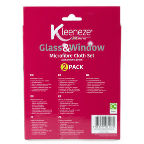 Kleeneze® KL071170EU Microfibre Glass and Window Cloths for Cleaning and Removing Bacteria | Pack of 2 | Grey and Aqua Thumbnail 2